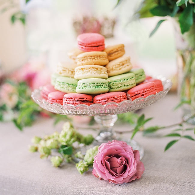 Guests could choose from a variety of macaron colors for a sweet treat.