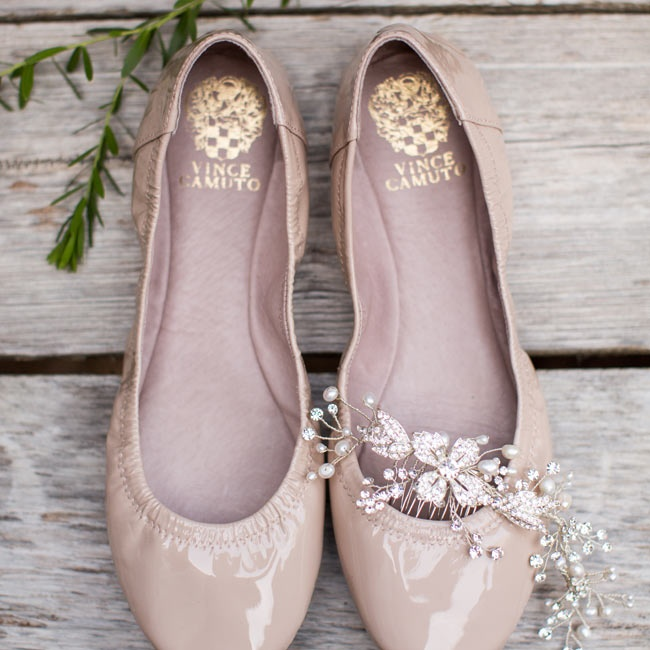 Meagan wore these nude Vince Camuto flats down the aisle on her wedding day.