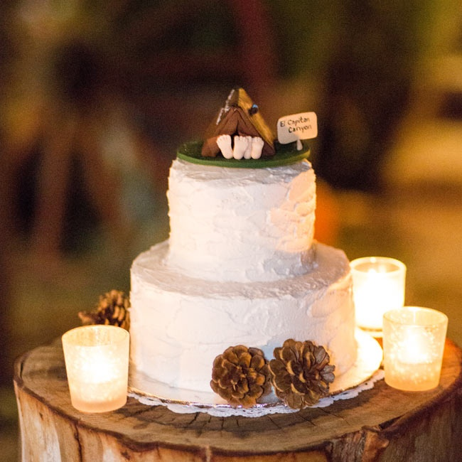 The couple's cake was topped with a cute tent topper and lined with pine cones.