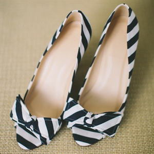 Striped Peep Toe Heels