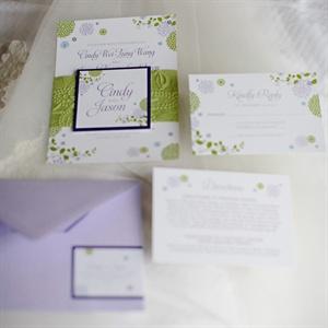 Purple and Green Invitation Suite