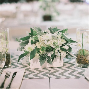 Low White and Green Centerpieces