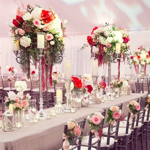 Tall Pink and Red Centerpieces
