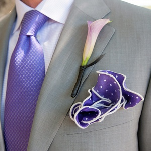 Purple Polka-Dot Boutonniere