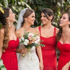 Red Mismatched Bridesmaid Gowns