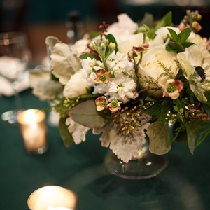 Ivory Stock and Rose Centerpieces