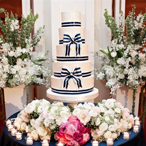 Navy and White Wedding Cake