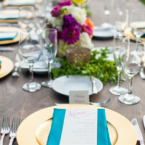 Gold and Teal Place Settings