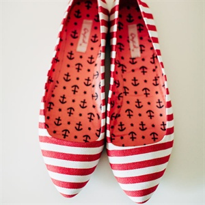 Red Stripe Bridal Flats