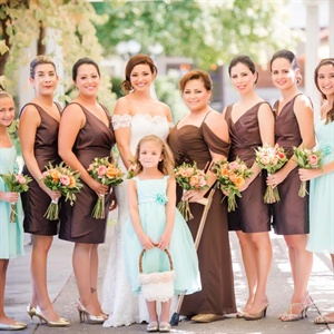 Chocolate Brown and Aqua Bridesmaid Dresses