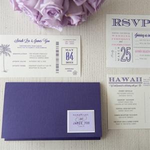 Purple Typography Invitation Suite