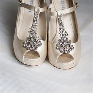 Bejeweled T-Strap Wedding Heels