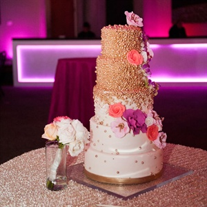 Gold Beaded Wedding Cake