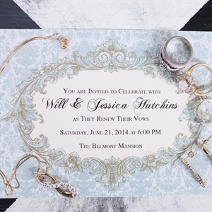 Ornate Powder Blue Invitation Suite