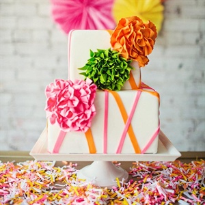 Bright Pink and Orange Cake