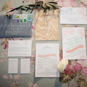 Woodgrain and Rose Invitation Suite