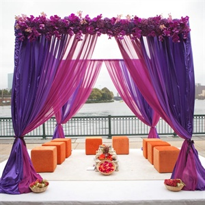 Purple and Orange Ceremony Mandap