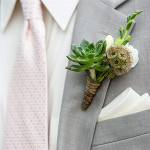 Succulent and Scabiosa Boutonniere
