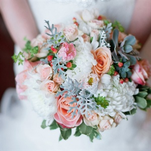 Textured Pink and White Bridal Bouquet