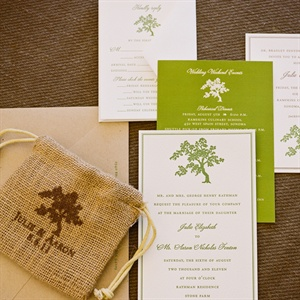 Green and White Invitation Suite