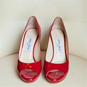 Red Jimmy Choo Peep Toe Heels