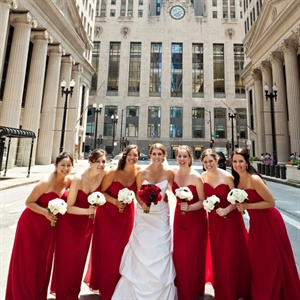 Long Red Bridesmaid Gowns