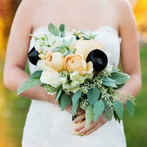 Yellow and Black Bridal Bouquet