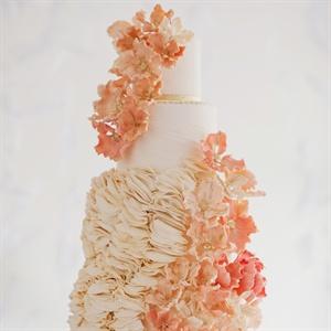 Coral Ruffled Wedding Cake