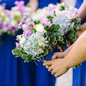 Blue Hydrangea Bridesmaid Bouquets