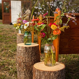 Wood Trunk Flower Pedestals