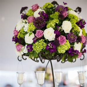 Purple and Green Centerpieces
