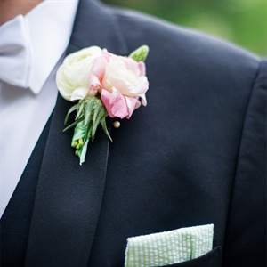 Pink and White Boutonniere