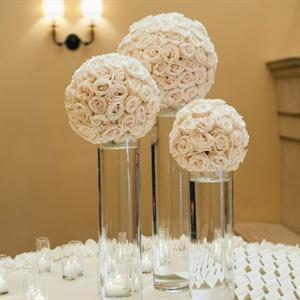 Modern Rose Pomander Reception Flowers