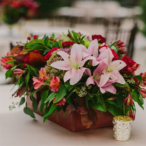 Lily Centerpiece in Antique Wooden Box