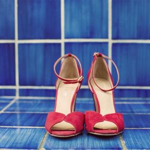 Red Suede Bridal Heels