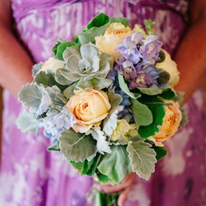 Purple, Green and Peach Bridesmaid Bouquet