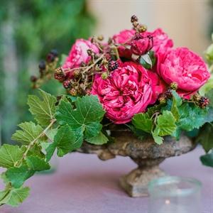 Blackberry and Garden Rose Centerpieces