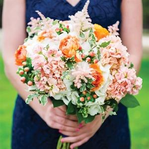 Peach and Orange Bridesmaid Bouquet