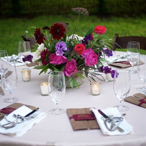 Dark Red and Fuchsia Centerpieces