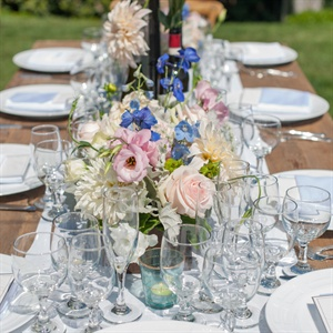 Blue and Pink Floral Centerpieces