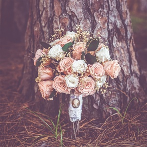 Preserved Peach and White Roses Bridal Bouquet