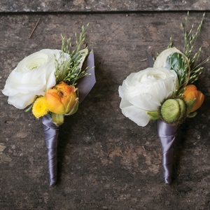 White and Orange Boutonnieres