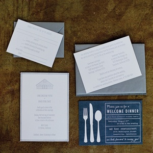 Gray and White Invitation Set