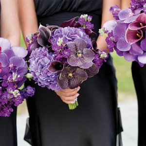 Purple Lily, Orchid and Hydrangea Bouquets