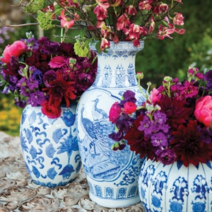 Blue Willow China Vases