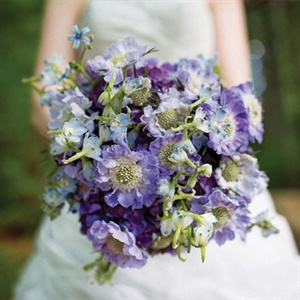 Purple Scabiosa and Hydrangea Bouquet