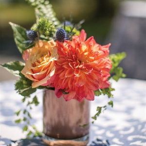 Dahlia and Rose Centerpiece