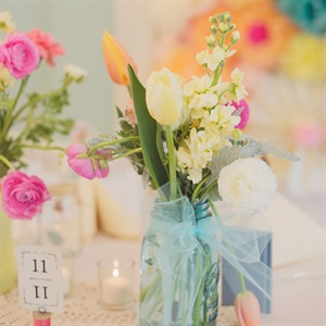 Tulip, Ranunculus and Stock Centerpieces