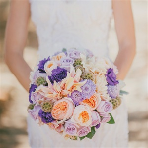 Peach and Purple Bridal Bouquet