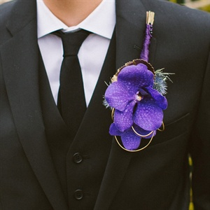 Purple Bridal Boutonniere